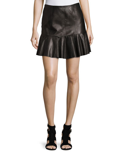 Fitted Lambskin Leather Skirt | Neiman Marcus