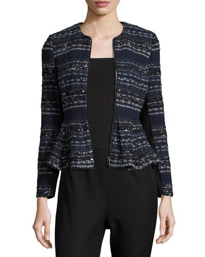 Metallic Tweed Peplum Jacket, Navy Combo