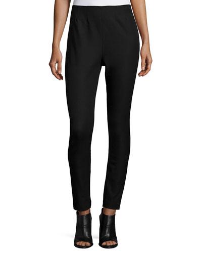 Audrey Twill Skinny Pants, Black