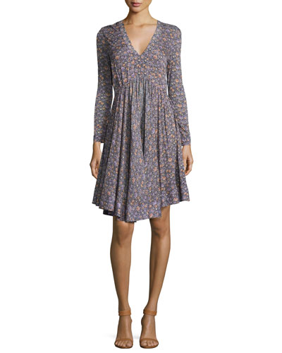 Lavish V-Neck Long-Sleeve Dress