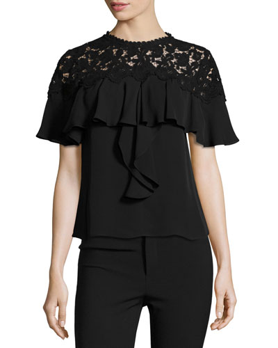 Ruffled Lace-Yoke Georgette Top, Black