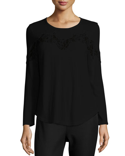 Long-Sleeve Lace-Trim Tee, Black