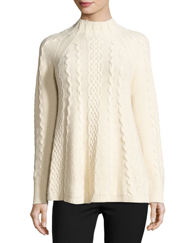 Mock-Neck Cable-Knit Pullover, Ecru