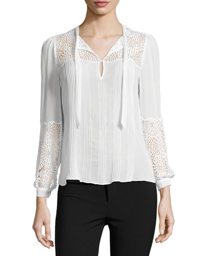Lace-Inset Long-Sleeve Chiffon Top, Chalk