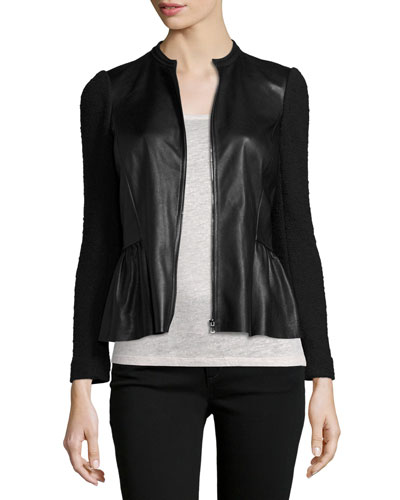 Boucle & Leather Peplum Jacket, Black