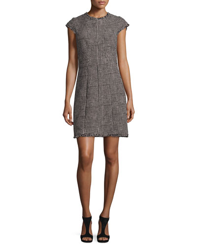 Patchwork-Houndstooth Fringe-Trim Dress, Teaberry Combo