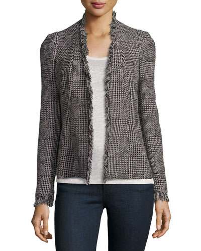 Patchwork-Houndstooth Fringe-Trim Jacket