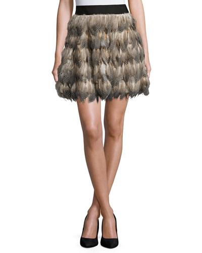 Cina Feather Flared Mini Skirt