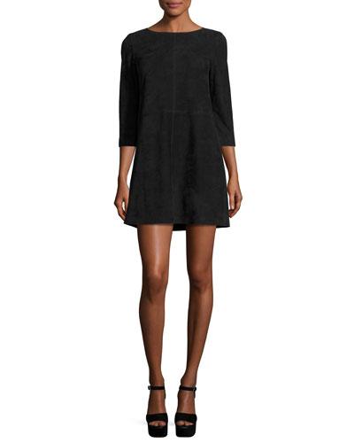 Tamar Suede Boat-Neck Shift Dress, Black