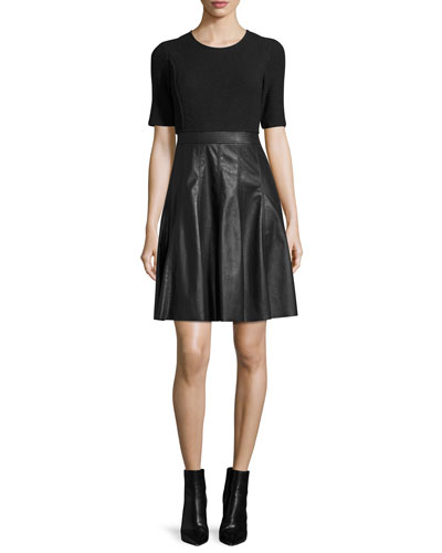 Knit & Vegan Leather Dress, Black