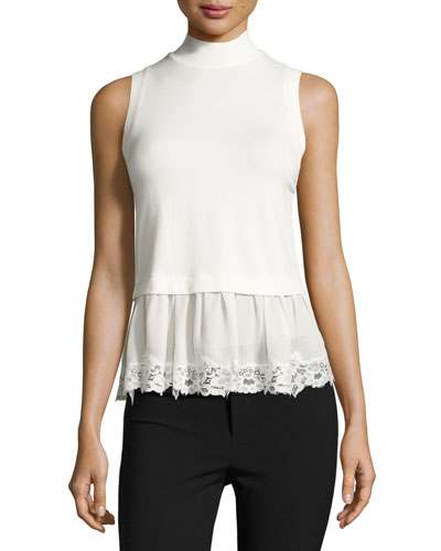 Terry Lace-Hem Mock-Neck Top, Chalk