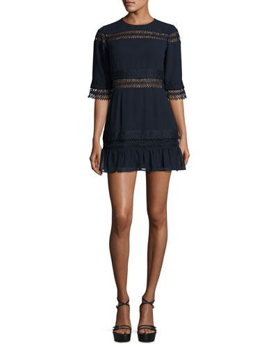 Asher Lace-Trim Mini Dress, Deep Indigo