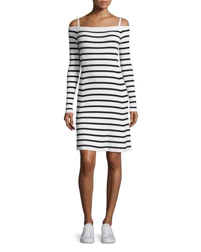 Pirellia Prosecco Striped Cold-Shoulder Dress