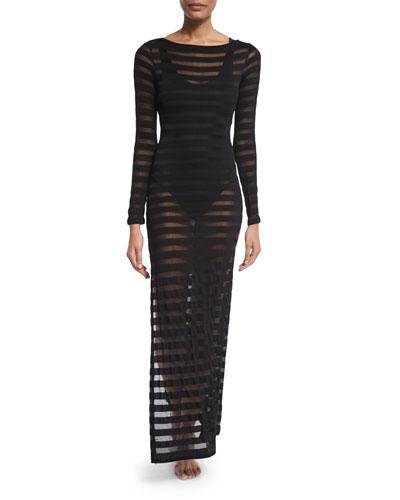 Mesh-Stripe Long-Sleeve Maxi Dress