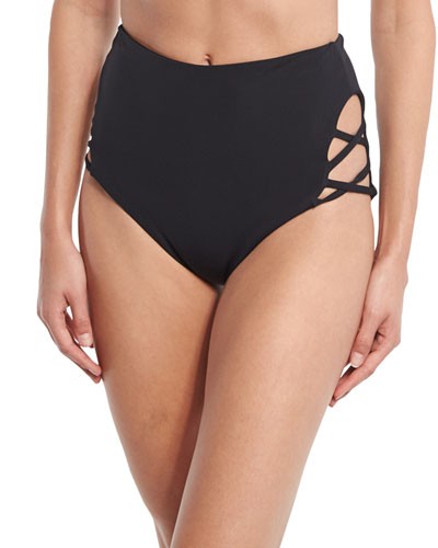 Crisscross High-Waist Swim Bottom, Black