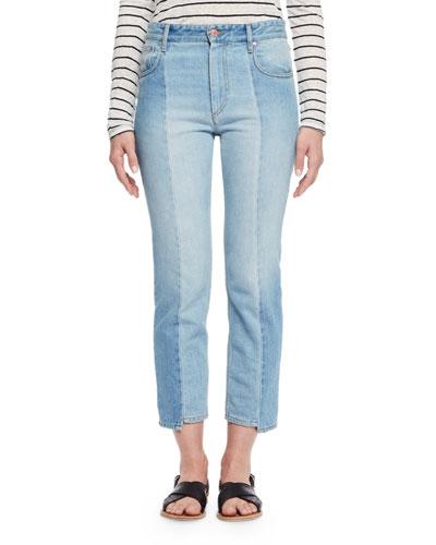 Clancy Cropped Denim Jeans, Light Blue