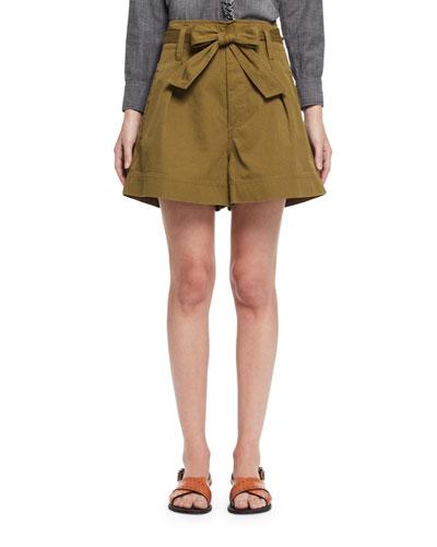 Oscar Paperbag-Waist Wide-Leg Twill Shorts, Khaki