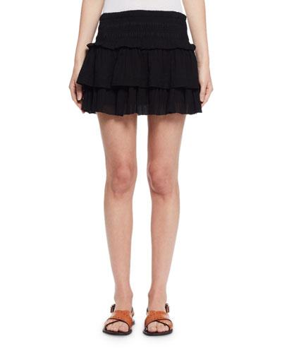 Kamelie Tiered Voile Mini Skirt, Black