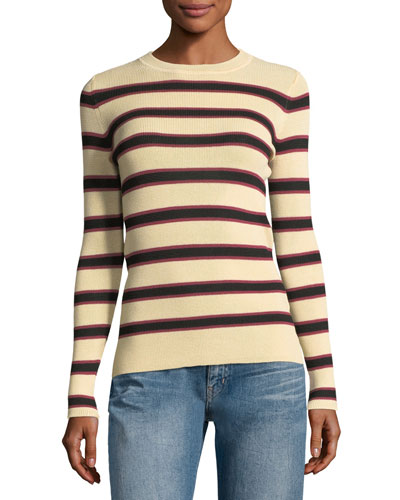 Derring Striped Fitted Pullover Sweater, Ecru/Black