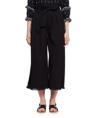 Odea Paperbag-Waist Wide-Leg Twill Pants, Black