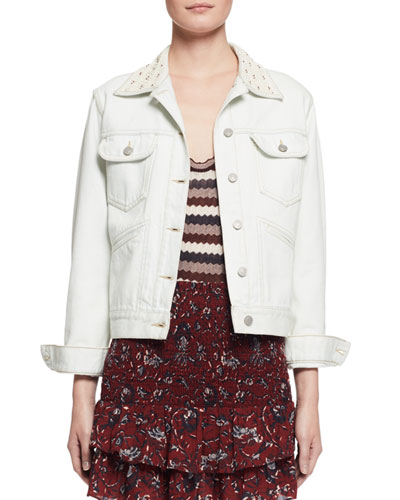 Christa Cotton Denim Jacket, Chalk