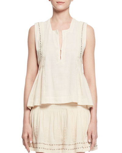 Adonis Sleeveless Studded Jersey Top, Ecru