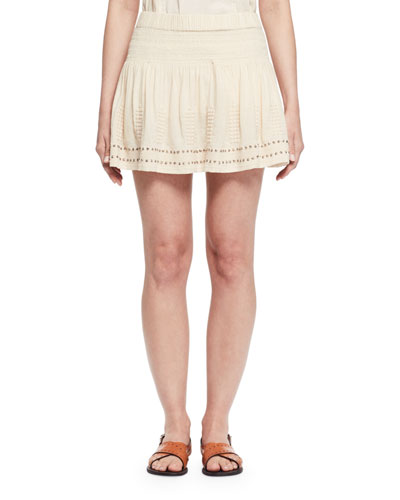 Alea Studded Jersey Mini Skirt, Ecru
