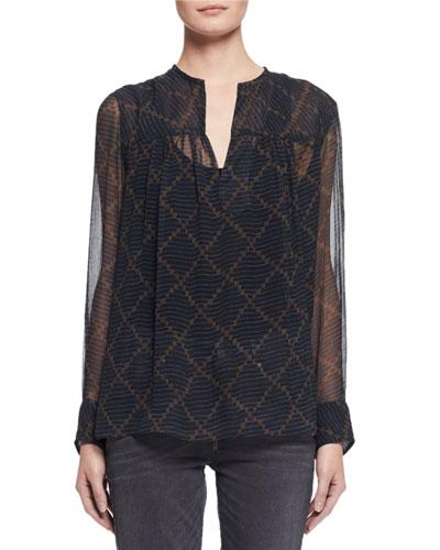 Bowtie Long-Sleeve Patterned Silk Tunic, Black