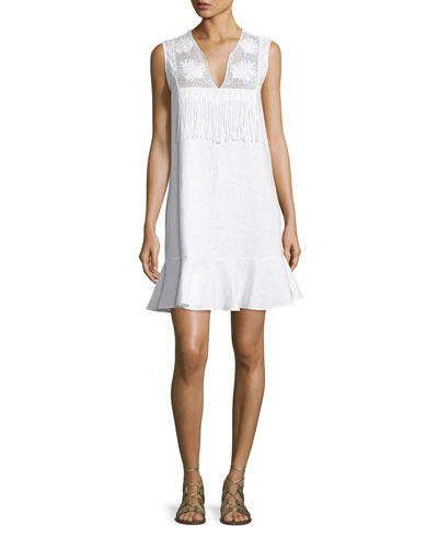 Blanche Fringe-Trim Flounce Dress, Pure White