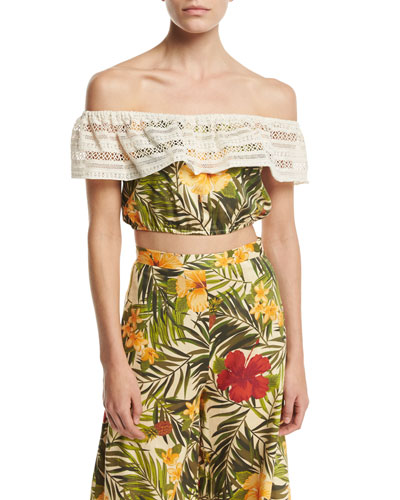 Dakota Tropical Floral-Print Off-the-Shoulder Crop Top
