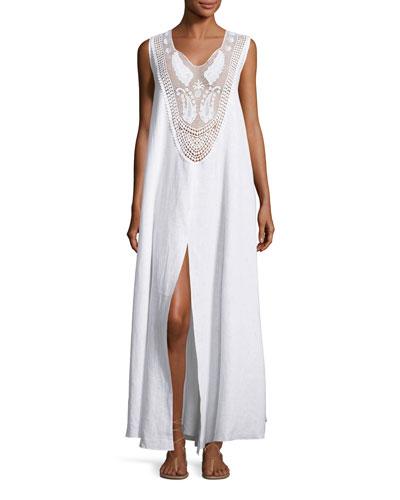 Lana Lace-Bib Maxi Dress, Pure White