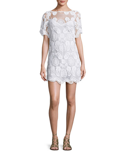 Grace Crochet-Overlay Coverup Dress, Pure White