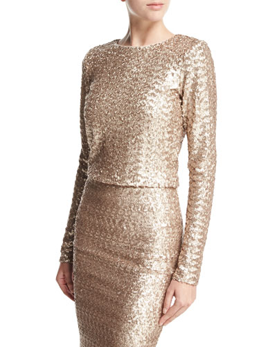 Lebell Sequined Long-Sleeve Crop Top, Light Pink