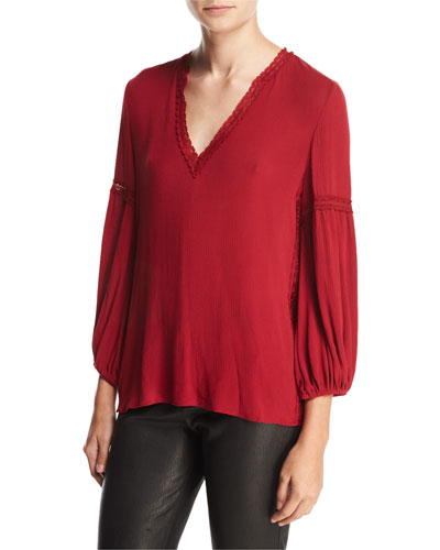Kandace Lace-Trim Top, Red