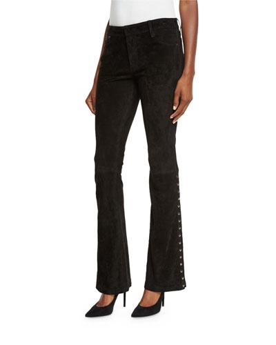 Studded Suede Flare-Leg Pants, Black