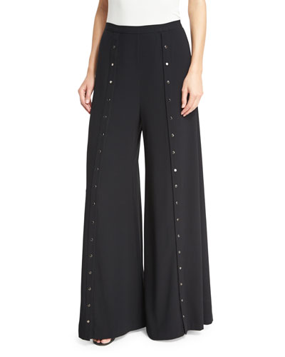 The Snap Wide-Leg Pants, Black