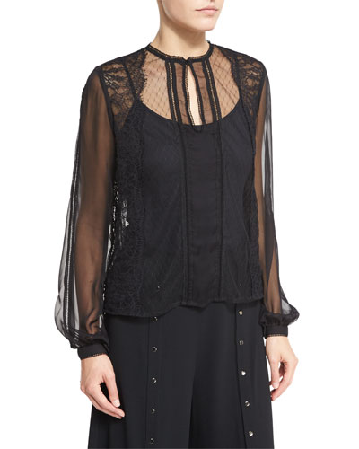 The Lace Widow Silk Blouse, Black