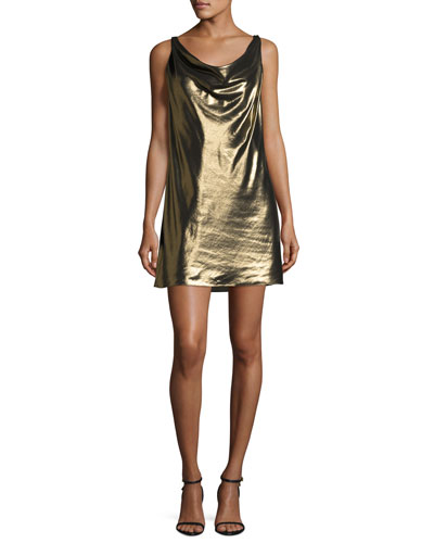 Morton Lamé Cowl Slip Dress, Gold