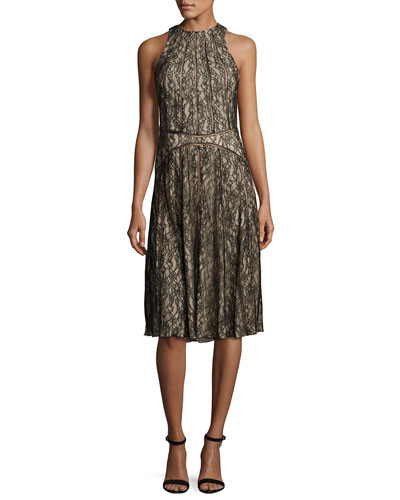Sleeveless Paneled Lace Dress, Black