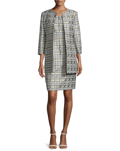 Metallic Jacquard Dress | Neiman Marcus