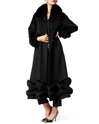 Fox Fur-Trim Ankle-Length Cashmere Coat, Black