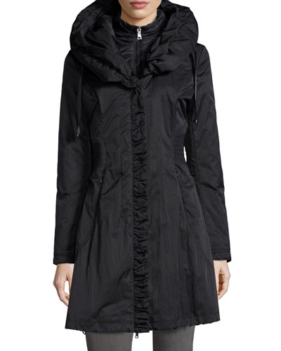 Hooded Ribbed-Trim A-Line Jacket, Black