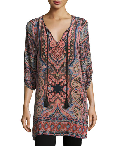 Nova Long Printed Silk Tunic, Coral, Plus Size