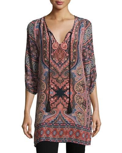 Nova Long Printed Silk Tunic, Coral