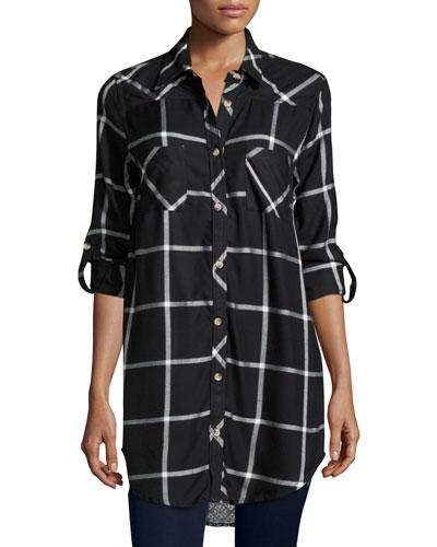 Tina Plaid Boyfriend Shirt, Noire, Plus Size
