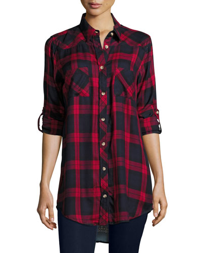 Tina Plaid Boyfriend Shirt, Red, Plus Size