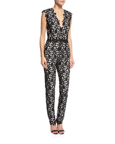 Lace Sleeveless V-Neck Jumpsuit, Black/White
