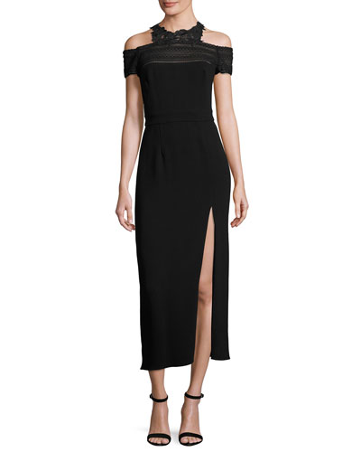 Lace-Trim Cold-Shoulder Midi Dress, Noir