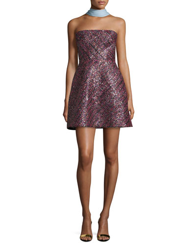 Strapless Sequined Cocktail Dress, Magenta/Multi