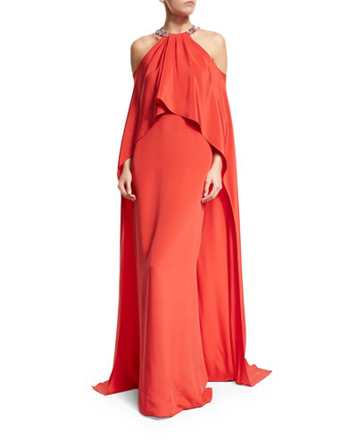 Halter Cold-Shoulder Cape Gown, Geranium